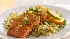 Need a quick dinner recipe? Then bake these citrus glazed salmon served with sauce - ready in 25 minutes.