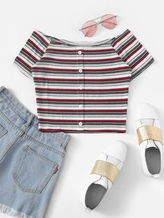 Shop Striped Single Breasted Off The Shoulder Tee online. ROMWE offers Striped Single Breasted Off The Shoulder Tee & more to fit your fashionable needs. Cute Girl Outfits, Teen Fashion Outfits, Cute Casual Outfits, Outfits For Teens, Stylish Outfits, Women's Casual, Men's Fashion, Off The Shoulder Tee, Crop Top Outfits