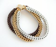 Beading Tutorial - Trinity Metal Bead Bracelet Pattern - Right Angle W | beadsforever - Patterns on ArtFire