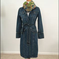 Gap denim mid-calf length belted trench coat XS GAP Belted Denim Trench Coat. This stylish trench is mid-calf length and belted. Can be worn as a dress as well. Excellent heavyweight quality and superb condition. Gap design from 2001. GAP Jackets & Coats Trench Coats