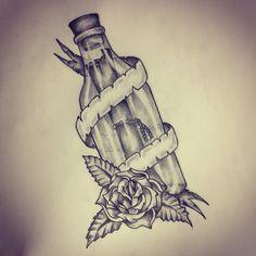 Message in a bottle tattoo sketch by - Ranz