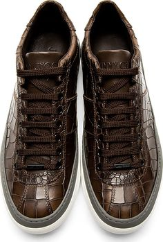Jimmy Choo: Brown Croc-Embossed Portman Sneakers Protect,seal, waterproof your sneakers and entire wardrobe. Ceracoatus.com/freedom
