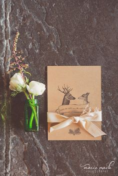 Deer in Love invitation suite. A rustic woodland suite. ©Maria Mack Photography
