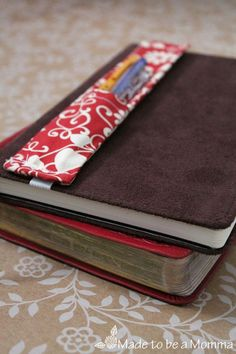 Journal Pen Holder 2 pocket for pen and pencil with elasitc to hold it in place. I really need to make me some of these.