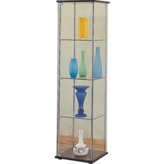 Modern Contemporary Glass Curio Cabinet with Cappuccino Top and Bottom Glass Curio Cabinets, Glass Shelves, Display Shelves, Display Cabinets, China Cabinets, Cube Furniture, Coaster Furniture, Office Furniture, China Display