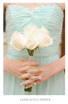 Tiffany blue bridesmaid dress and bridesmaid bouquet. #tiffanyblue #tiffany #blue