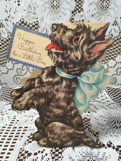 VTG 40s 50s Die Cut Scotty Dog Blue Bow Cute Birthday Greeting Card Stunning