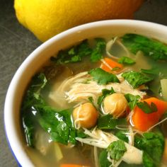Lemony Chicken Soup with Greens Recipe – The Lemon Bowl -----Think of my Lemony Chicken Soup with Greens as a warm bowl of comfort Dutch Oven Recipes, Cooking Recipes, Healthy Recipes, Clean Eating, Healthy Eating, Chicken Soup Recipes, Chicken Soups, Chicken Cooker, Recipe Chicken