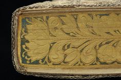 This beautiful binding is among the best preserved and most splendid of its kind. The floral motifs are embroidered with satin stitching in silver and luminous colours. The edges are lavishly decorated, painted in gold and other colours and with gauffering. The front edge shows the symbol of hope, a woman with an anchor. The volume may have belonged to Hedvig Eleonora as there is a printed dedication to her in one of the works bound together.