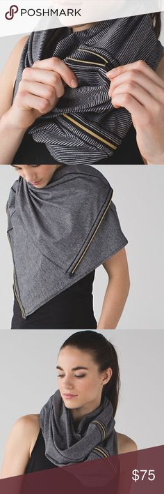 Lulu lemon vinyasa scarf Beautiful new scarf. Gold zipper detail. It can be worn so many unique ways. No tags because I planned on wearing it but FLA heat has deterred me so far. Looking for a new, loving home.  I don't really want to sell it but I'm listing it anyways. Smoke free house. No trades. lululemon athletica Accessories Scarves & Wraps