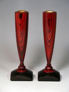 woodturned winged vases | Cocobolo & Ebony Candle Holders