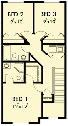 Duplex with 3 Beds in Each Unit - 38019LB | 2nd Floor Master Suite, CAD Available, Narrow Lot, PDF | Architectural Designs