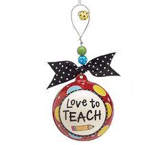 Love to Teach Ceramic Ball Christmas Tree Holiday Ornament - Teacher Gift
