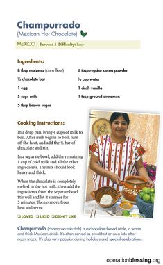 MEXICAN HOT CHOCOLATE RECIPE (CHAMPURRADO): Enjoy this hearty, authentic Mexican version of hot chocolate. It's warm, cinnamon flavored, and protein rich. An exotic, sweet treat, breakfast food, warm drink, and comfort food all in one. Operation Blessing is pleased to help the people of Mexico with safe water, education, and Zika relief. Follow us for more great international recipes inspired by our worldwide travels bringing humanitarian aid to those in need. #Blessthisfood