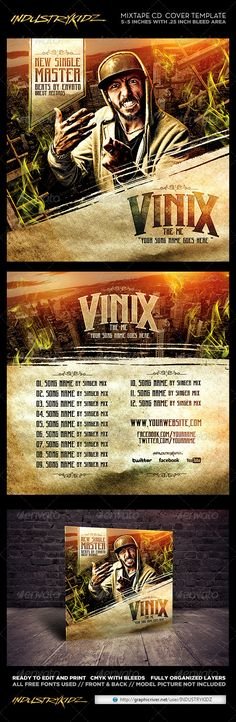 Mixtape #Cover #Template - #CD & DVD Artwork Print Templates Download here: https://graphicriver.net/item/mixtape-cover-template/6770121?ref=alena994