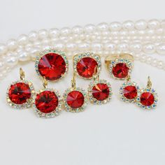 Red Bridal Set Red Swarovski Crystal Set Red Christmas set Valentine's Gift for woman Bridesmaids Jewelry Set AB Halo Rivoli Cut,Gold,GR48
