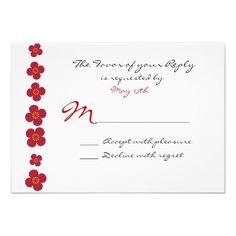 Pretty Red Pink Flower Border Wedding RSVP Cards