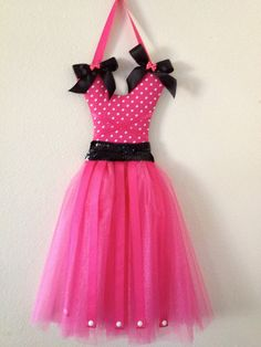 Hot Pink and Black Tutu Bow Holder by PixieandLackie on Etsy, $34.00