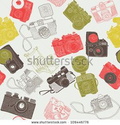 vintage photo cameras. seamless pattern