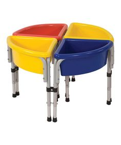 4 Station Round Sand & Water Play Table with Lids, Multi-Colored Sand And Water Table, Water Tables, Sand Table, Wooden Sandbox, Canopy Cover, Play Table, Outdoor Toys, Outdoor Play, Water Play