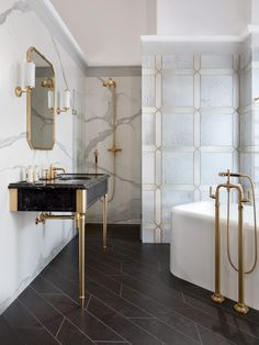 accents-of-gold-bathroom-inspiration delivers online tools that help you to stay in control of your personal information and protect your online privacy. Small Bathtub, Small Bathroom, Bathroom Ideas, Master Bathroom, Modern Bathroom, Classic Bathroom, Bathroom Organization, White Bathroom, Bathroom Storage