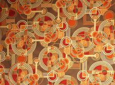 Orange and Brown with Metallic Gold Art Deco Lavish Print Pure Cotton Fabric--One Yard
