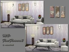 Painting Recolors With Lovely Floral Motives, 3 Differnet Flower Motives  And 2 Frame Colors