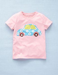 Mini Boden Girl/'s Prussian Blue Horse w Rainbow Mane Applique Top Shirt sz 2 3
