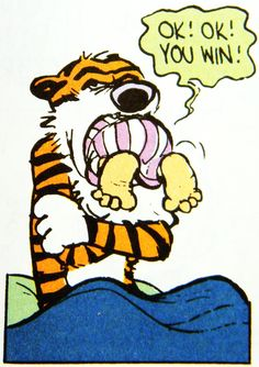 ~ Calvin & Hobbes sometimes you get the bear[TIGER}and sometimes the bear gets you{tiger}!an if he does just hold onto his tongue til he spits you out .HA  ha !