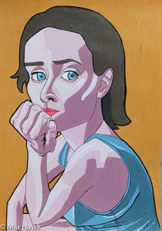 Thinking of that, Original art work by Mia Hawk.   26,7 x 37,7 cm, illustration on thick paper with acrylics and pen.