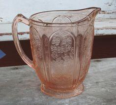 Pink Depression glass pitcher