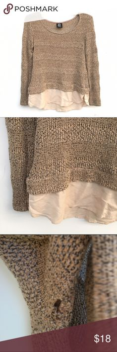 "Brown Knit Sweater Light brown knit sweater, with a ""skirt"" lining the bottom. Only flaw is a small hole under the armpit, shown in the third image.! bobeau Sweaters Crew & Scoop Necks"