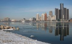The Detroit skyline is reflected on an undisturbed Detroit River, Monday, February 25, 2013.   (DAX MELMER/The Windsor Star)