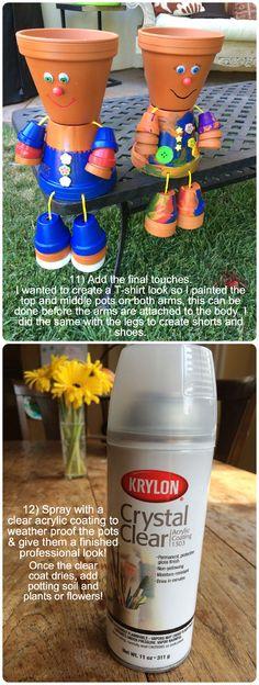 Steps 11-12 of my Flower Pot People! #craft #kidscraft #flowerpots #garden #TanyaMemme @krylonbrand