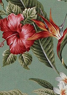40pali Tropical Hawaiian Hibiscus, plumeria, bird of paradise & Orchid flowers  cotton non-upholstery or upholstery barkcloth fabric.  BarkclothHawaii.com