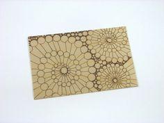 Abstract Postcard - Wood Pyrography - Bubble Swirl Wood Postcard