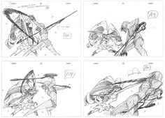 """artbooksnat: """" Kill la Kill (キルラキル) key frames of Kengo Saito's (斉藤健吾) impressively choreographed fight between Ryuko and Nui in episode #24. The fight sequence along with interesting rough motion..."""