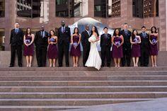 Gorgeous purple bridesmaid dresses - photos by Cliff Brunk Photography   junebugweddings.com