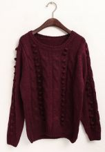 Wine Red Long Sleeve Polka Dot Embellished Sweater $33.87  #SheInside #hipster #love #cute #fashion #style #vintage #repin #follow