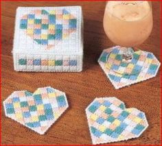 Free Plastic Canvas Coaster Patterns | Pretty Pastal Heart Coasters Plastic Canvas Pattern by 4evermickey ...