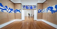 """Strips of collage being used in avery simple but effective way. """"The Swimming 'Henri Matisse: The Cut-Outs,' a Victory Lap at MoMA Matisse Tattoo, Matisse Drawing, Henri Matisse, Picasso, Gaudi, Moma Nyc, Matisse Cutouts, Wall Text, Painted Paper"""