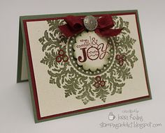Medallion Christmas Wreath Card :: Confessions of a Stamping Addict