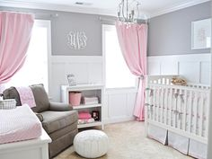 Sweet Sophistication - Starting with a typical builder-beige room, blogger Megan Wade of Wades of 108 wanted to add architectural interest to the space, so she and her husband installed crown molding and board-and-batten. Bright white furniture adds to the clean look of the space, while the addition of light gray and pink brings in a layer of girly elegance