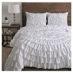 Lush pleats lend dreamy elegance to this charming comforter that graces your bedroom with sophisticated grandeur. Includes comforter and two polyesterMachine washImported Elegant Comforter Sets, Queen Comforter Sets, Bedding Sets, Ruffle Comforter, Black White Bedding, Inexpensive Furniture, Dream Bedroom, Master Bedroom, Comforters