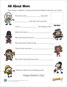 LeapFrog printable: All About Mom