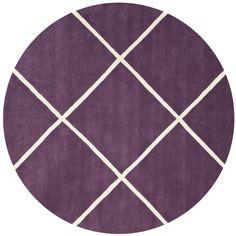 Handmade Moroccan Purple Wool Rug (7' Round) | Overstock.com