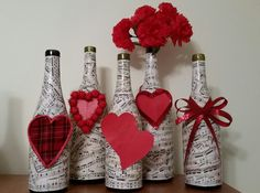 Wine Bottle decorated with Vintage Music-centerpiece, decoration,music lover's Valentine gift -accessorize for different occasions. How about this decorated wine bottle for a Valentines gift or Mothers day gift? Just add roses and Wine Bottle Covers, Wine Bottle Art, Diy Bottle, Wine Bottle Crafts, Wine Bottles, Wine Craft, Valentines Day Wine, Valentines Day Decorations, Valentines Bricolage