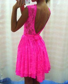 hot pink backless lace dress