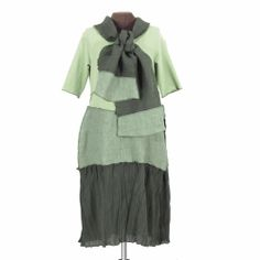 Secret Lentil Clothing - MossBoss: reconstructed dress and scarf in multiple greens, $188.00