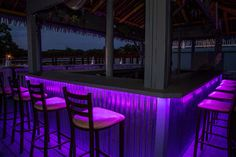 This tropical paradise just became even more alluring with the addition of a color changing RGB flexible light strip to accent the bar. Dazzling and dramatic, yet so easy to achieve! Easy peel and stick backing on the strip makes installation a breeze. Transform your space in no time!
